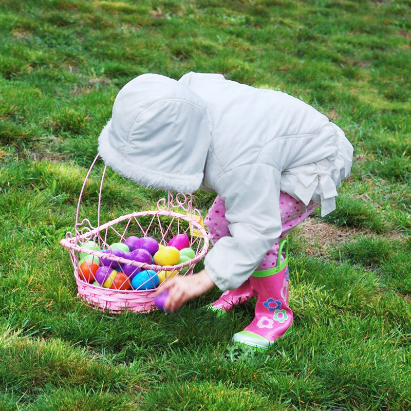 Young girl Easter egg hunting