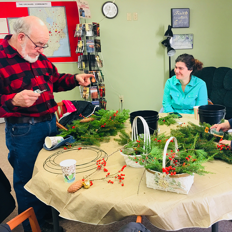 making wreaths at the Orchard Community Church